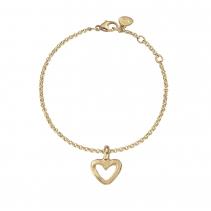 Gold Mini Open Heart Chain Bracelet