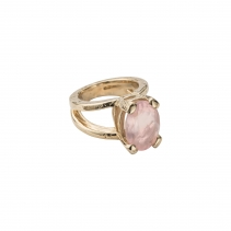 Gold Rose Quartz Maxi Claw Ring