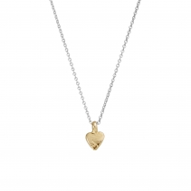Silver & Gold Baby Heart Necklace