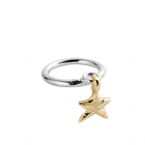 Silver & Gold Falling Star Ring