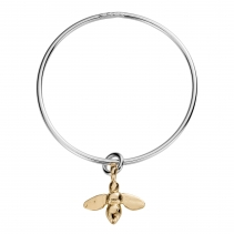 Silver & Gold Large Honey Bee Bangle