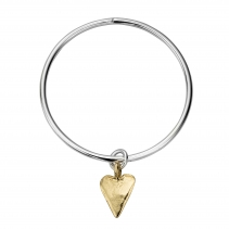 Silver & Gold Maxi Heart Bangle