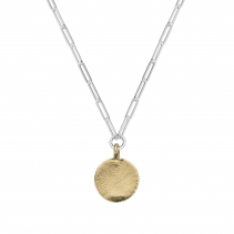 Silver & Gold Large Moon Trace Chain Necklace