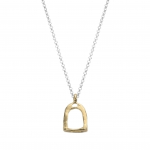 Silver & Gold Medium Stirrup Necklace
