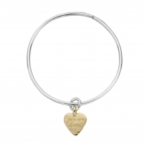 Silver & Gold Medium You Are Loved Bangle