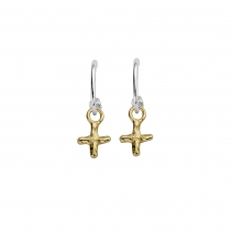 Mini Cupid Hoops With Gold Mini Kiss Charms