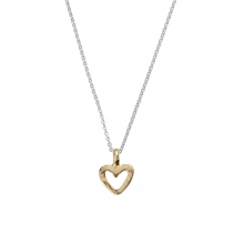 Silver & Gold Mini Open Heart Necklace