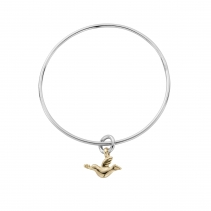Silver & Gold Mini Turtle Dove Bangle