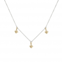 Silver & Gold Three Baby North Star Necklace