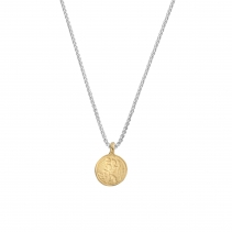 Silver & Gold Medium St Christopher Snake Chain Necklace