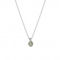 Silver Green Quartz Baby Treasure Necklace
