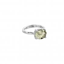 Silver Green Quartz Claw Ring