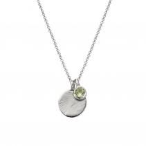 Silver Moon & Stone Green Quartz Necklace