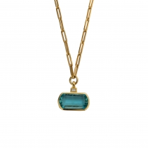 HALI Aquamarine & Diamond Necklace