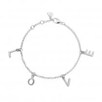 Silver Fixed Alphabet Chain Bracelet