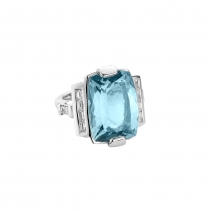 NILAK White Gold Aquamarine & Diamond Ring