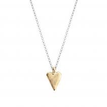 Silver & Gold Medium Heart Necklace