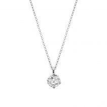 Silver Medium Yorkshire Rose Necklace
