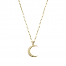 Gold Medium Crescent Moon Necklace