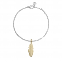 Silver & Gold Medium Feather Chain Bracelet