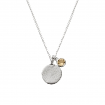 Silver Citrine Moon & Stone Necklace