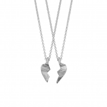 Silver Mini Best Friend Split Heart Necklace