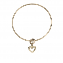 Gold Mini Open Heart Bangle