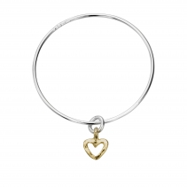 Silver & Gold Mini Open Heart Bangle