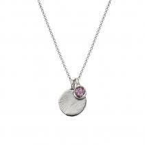Silver Moon & Stone Amethyst Necklace