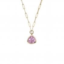 PETIT PÉTALE Gold Pink Tourmaline Trace Chain Necklace