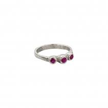 Silver Ruby Trinity Ring