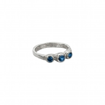 Silver Sapphire Trinity Ring