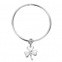 Silver Large Shamrock Bangle