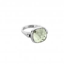 Silver Green Quartz Crystal Ring