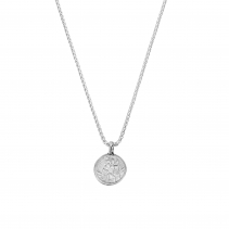 Silver Medium St Christopher Snake Chain Necklace
