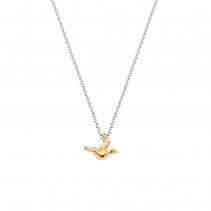 Gold Mini Dove on Silver Mini Chain
