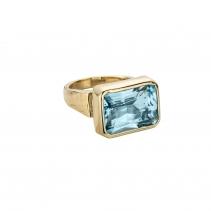 ULA Gold Blue Topaz Ring