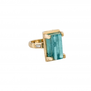 AETHRA Aquamarine & Diamond Gold Claw Ring