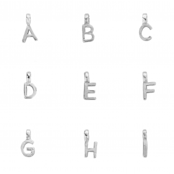 Silver Mini Alphabet Charm detailed