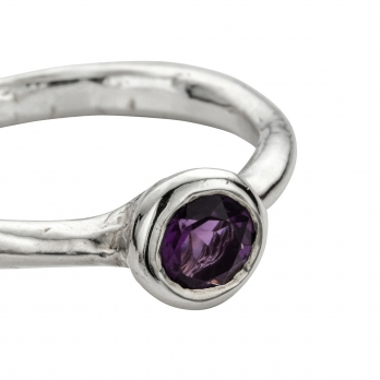 Silver Amethyst Baby Stone Ring detailed