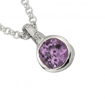 Silver Amethyst Baby Treasure Necklace detailed