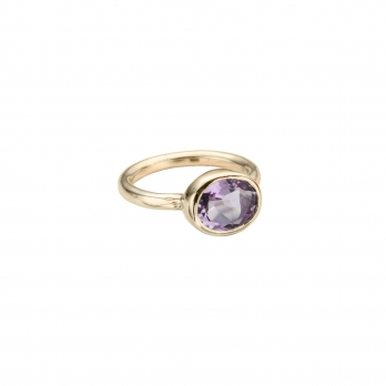 Gold Amethyst Baby Treasure Ring