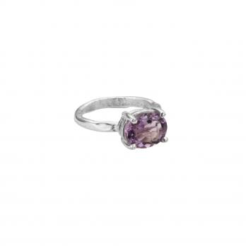 Silver Amethyst Claw Ring