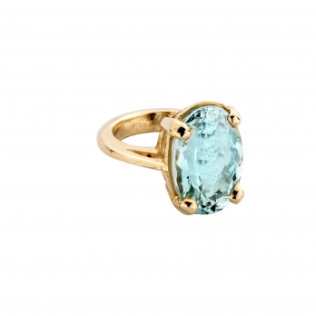 APOLLO Aquamarine Gold Claw Ring