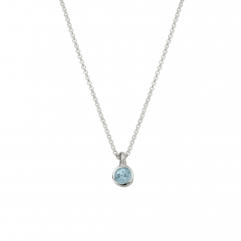Silver Aquamarine Baby Treasure Necklace