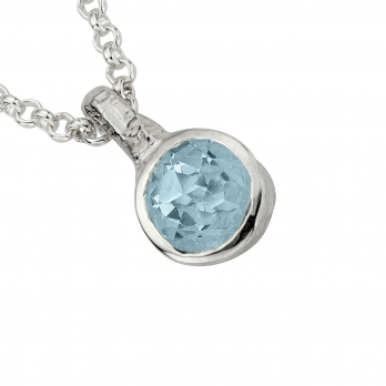 Silver Aquamarine Baby Treasure Necklace detailed
