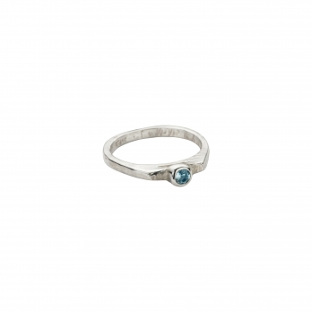 Silver Aquamarine Promise Ring