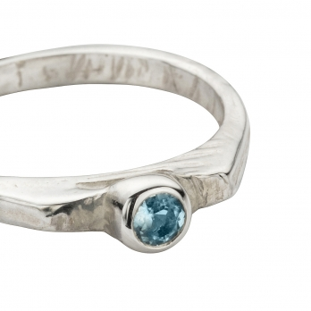 Silver Aquamarine Promise Ring detailed