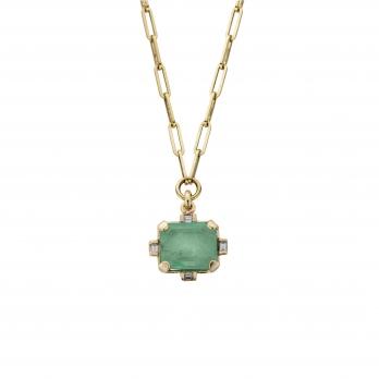 ARTARGATIS Gold Emerald & Diamond Claw Trace Chain Necklace