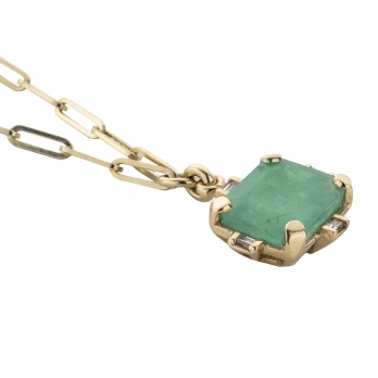 ARTARGATIS Gold Emerald & Diamond Claw Trace Chain Necklace detailed